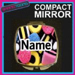 SWEETS CANDY PRINT PERSONALISED NAME GIFT COMPACT LADIES METAL HANDBAG MIRROR